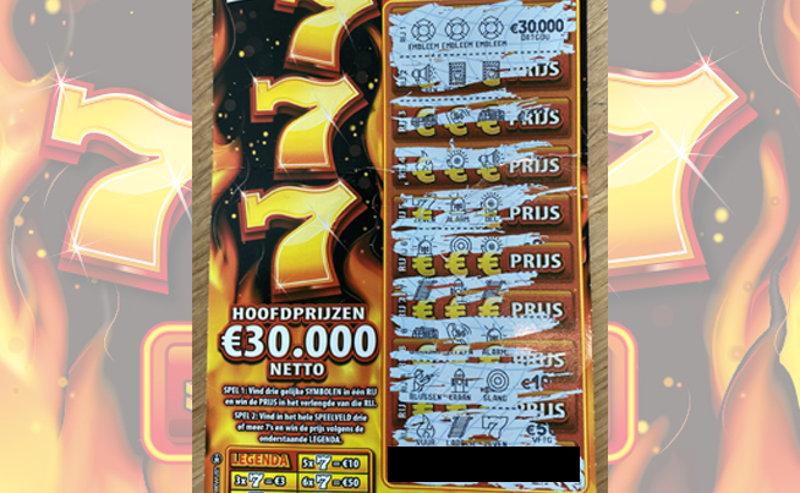 Het winnende lot van €30.000,-!