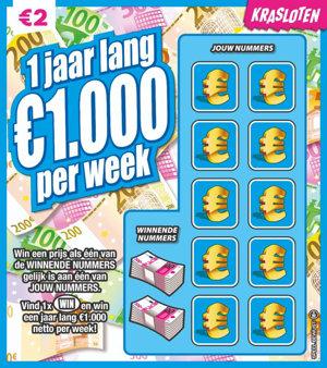 1 jaar lang €1.000 netto per week