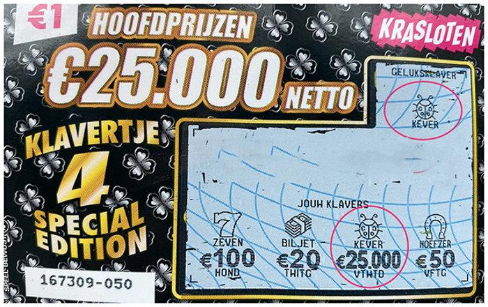 Op dit kraslot viel een hoofdprijs van €25.000!