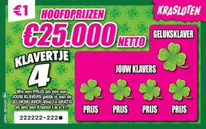 Klavertje 4 Hoofdprijzen €25.000 netto