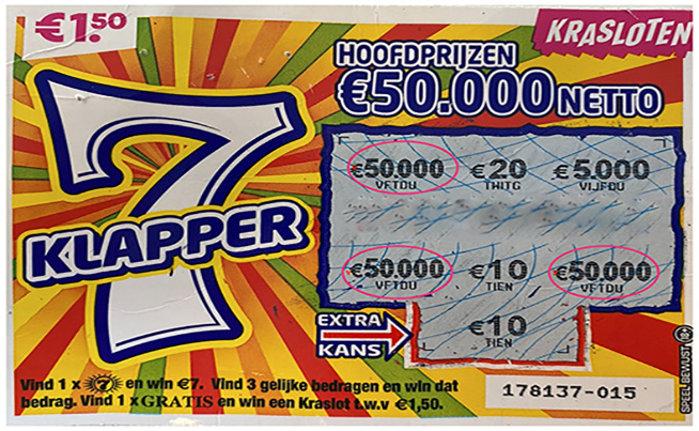 Op dit Kraslot viel een hoofdprijs van €50.000!