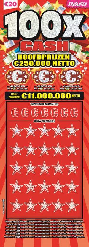 100x Cash Hoofdprijzen €250.000 netto
