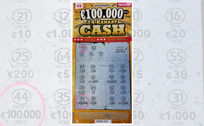 Op dit Kraslot viel een hoofdprijs van €100.000!